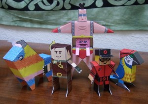 Pinata, Hero, Krang, V Guy, Parrot