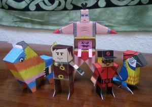 Pinata, Hero, Krang, V Guy, Parrot